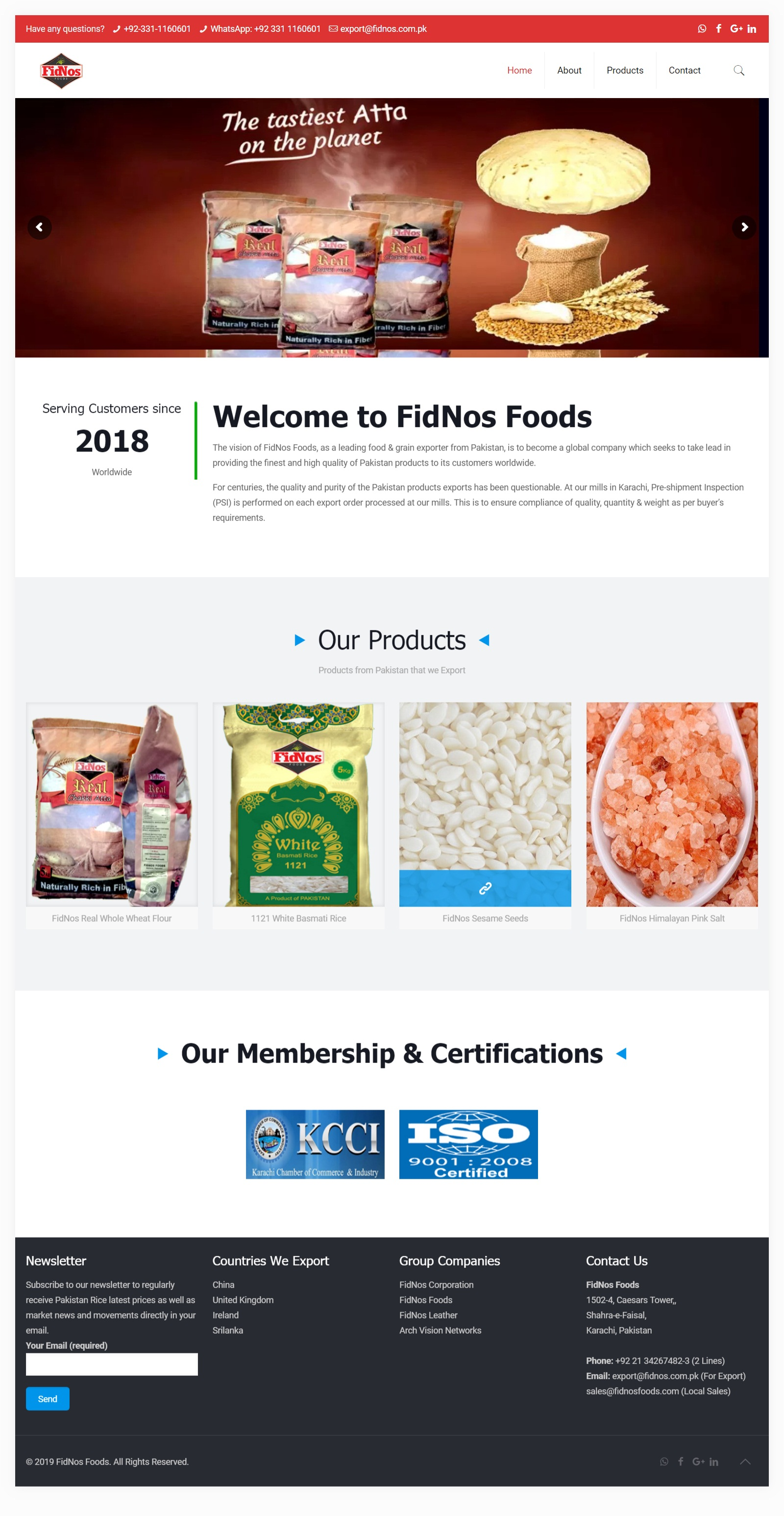 A Word Press Website for Food Company deals in Whole Wheat Flour, Himalayan Pink Salt, Sesame Seed and Rice…
