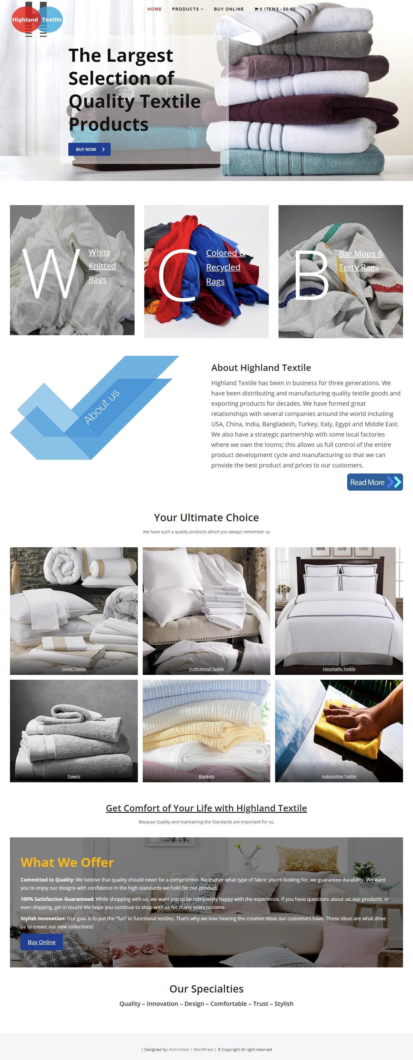 UASE based Textile Company Website…